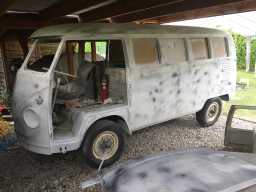 1967 VW Bus during wet-sanding layers of primer