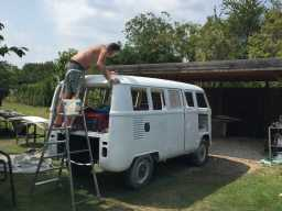 Eve the VW Bus - working on the roof