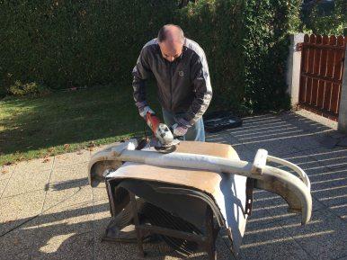 sanding-down-rear-bumper-vw-splitbus